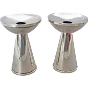Sterling Silver Mid Century Modern Pair of Candle Sticks made by Duchin Creations