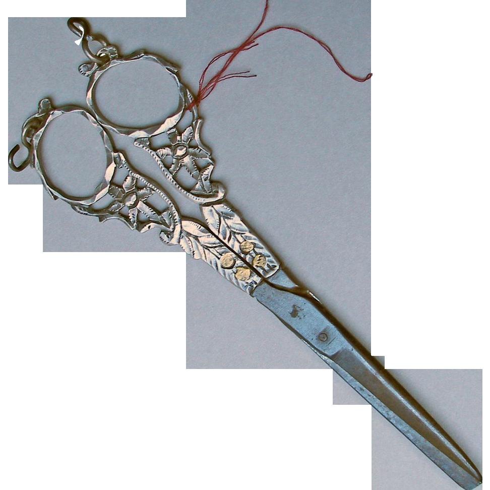 Antique Handmade Silver Dutch Cloth Or Sewing Scissors