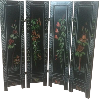 Miniature Handpainted 4 Panel Folding Chinese Screen Facsimalie 1/12 Scale