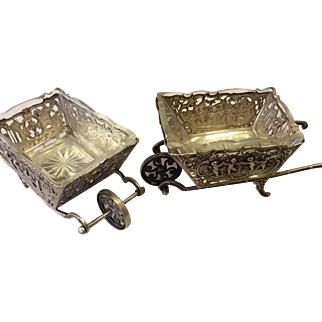 Pair of Silver Relish Dishes Circa 1890 in the Shape of Wheelbarrows From Germany