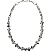 William Spratling Sterling Silver Necklace with Obsidian