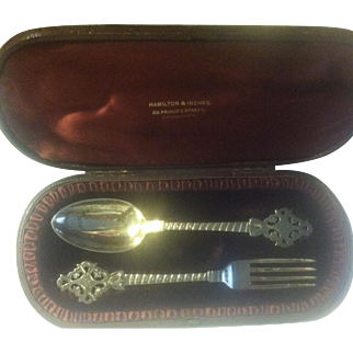 English (London) Sterling Youth/Traveling Set in Original Box Ca 1883