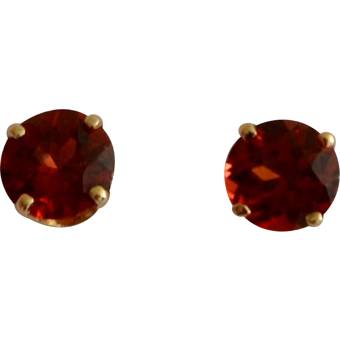 almandine garnet stud earrings 14k yellow gold sold on
