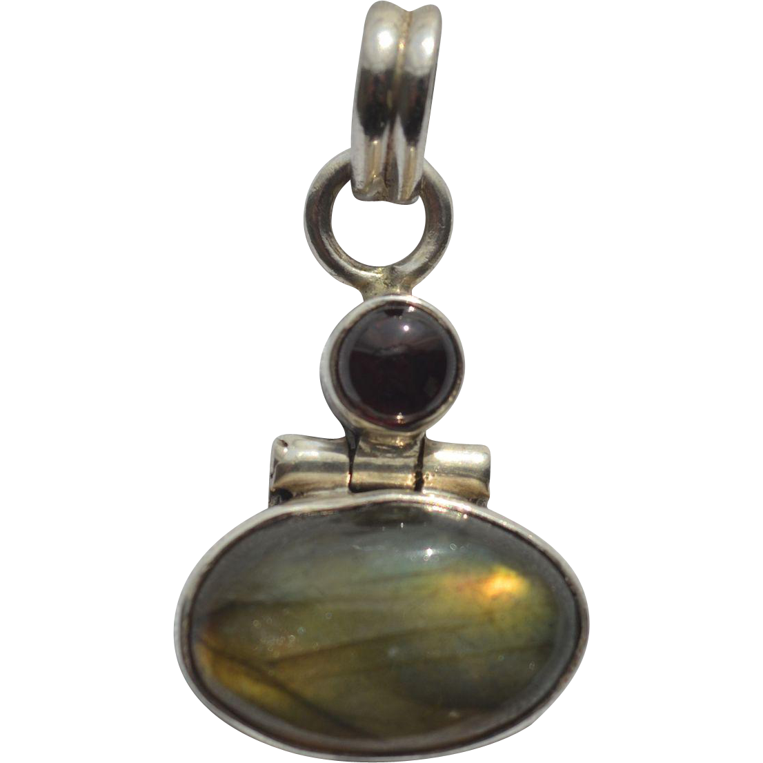 garnet and labradorite sterling silver pendant tag