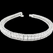 Vintage 10.34ct Baguette Diamond Tennis Channel set Bracelet 18k White Gold