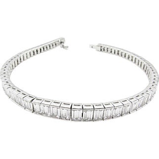 Vintage 10.34ct Baguette Diamond Tennis Channel set Bracelet 18k White Gold