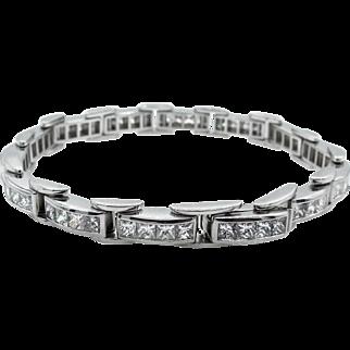 Vintage 9.25ct Princess Diamond Tennis Channel set Bracelet Platinum