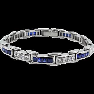 Vintage 9.10ct Princess Diamond Sapphire Tennis Channel set Bracelet Platinum
