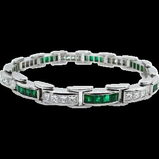 Vintage 9.10ct Princess Diamond Green Emerald Tennis Channel set Bracelet Platinum