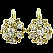 Victorian CIRCA 1890 2.30ct Old Mine Diamond Drop Dangle 18k Yellow Gold Earrings