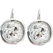 Edwardian 4.73ct Old Mine Diamond Drop Solitaire Earrings Platinum/18k Yellow Gold