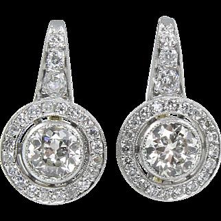 Art Deco 2.42ct Old European Diamond Drop Earrings Platinum/Yellow God EGL USA