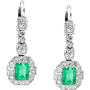 Art Deco GIA 4.80ct Untreated Natural Colombian Green Emerald Diamond Drop Dangle Platinum