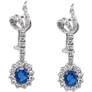 Vintage 3.60ct Oval Sapphire and Diamond Drop Dangle Earrings