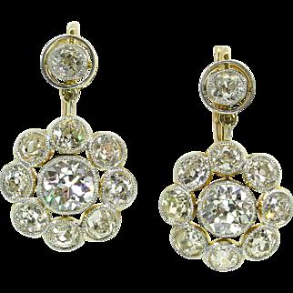 9.50ct Antique Vintage Victorian CIRCA 1890 Old European Diamond Drop Dangle 18k Yellow Gold Earrings EGL USA