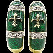 Vintage Diamond Green Enamel Fleur De Lis Huggies Hoop Earrings 14k Yellow Gold
