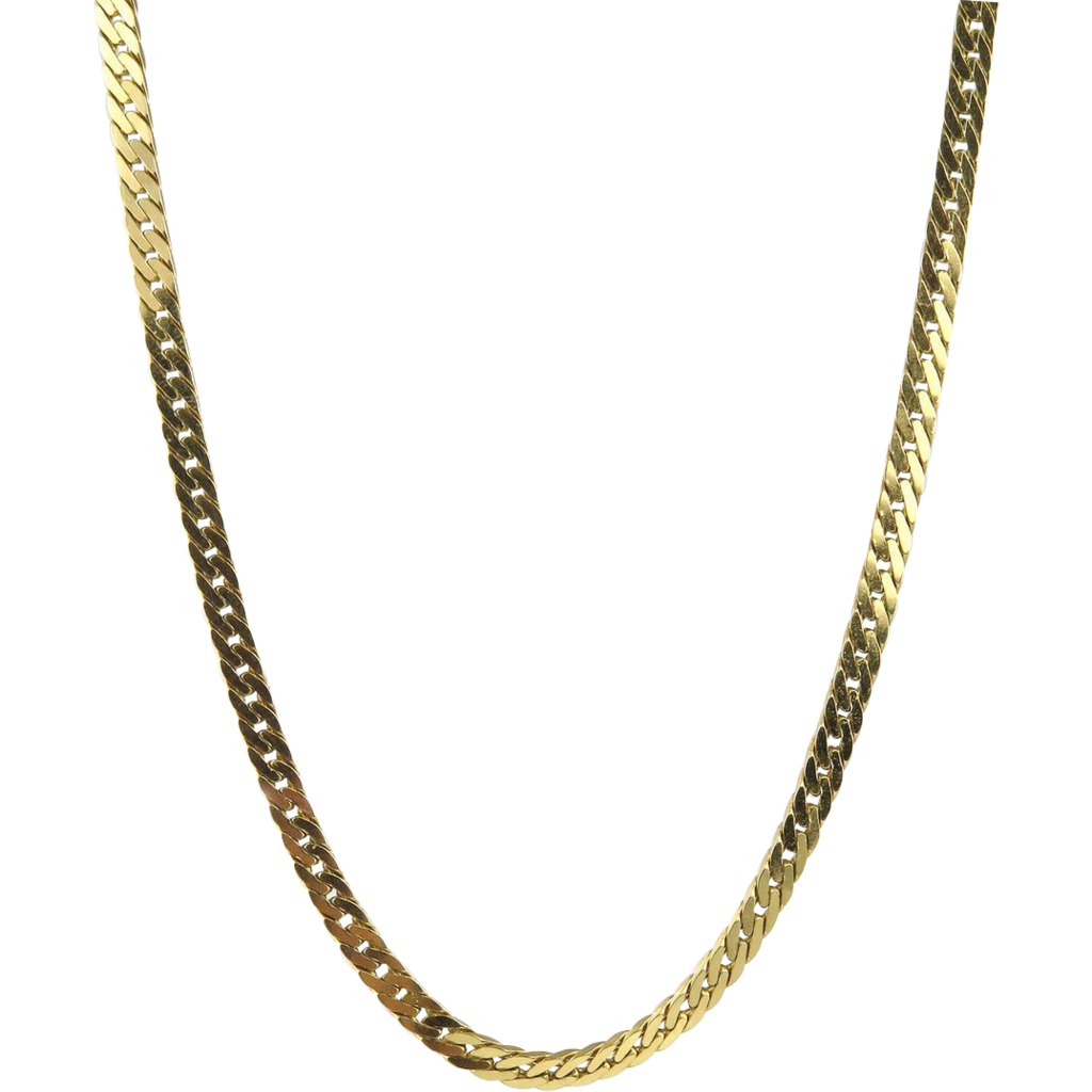 Vintage wide heavy solid necklace herringbone chain in 14k yellow gold