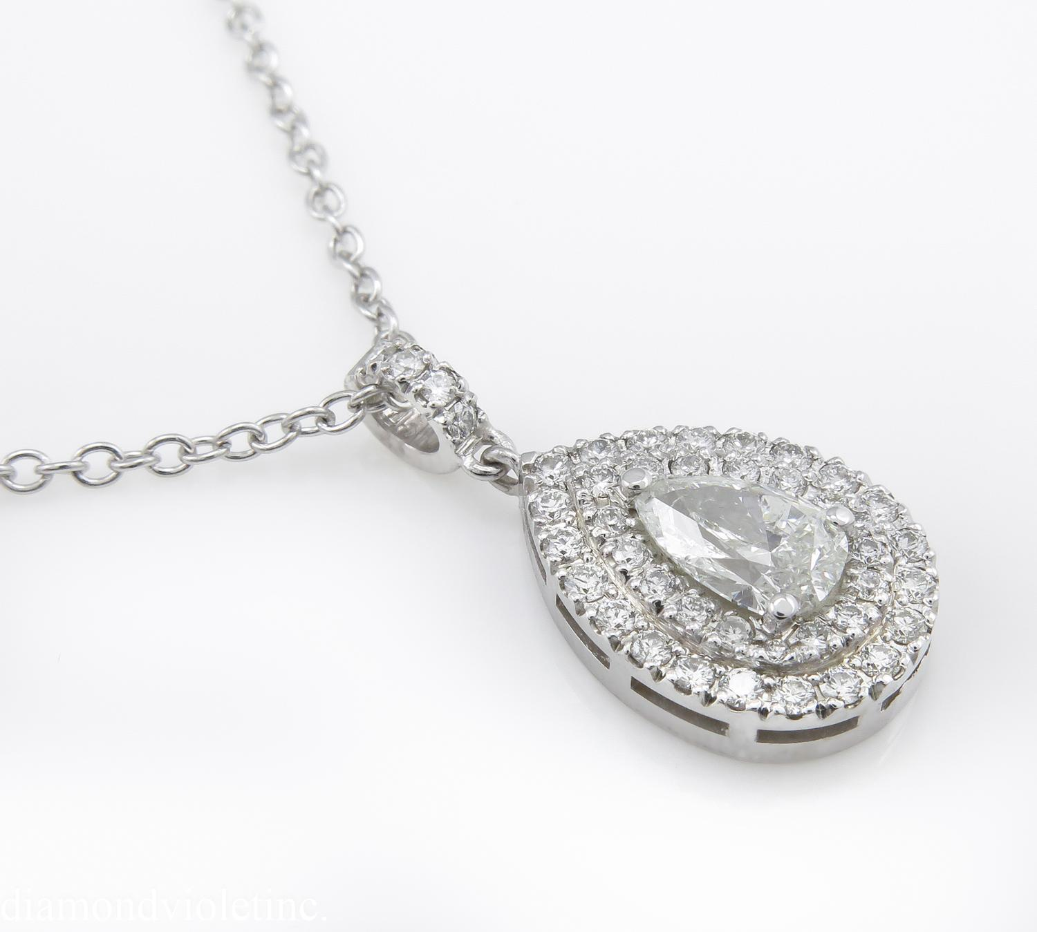 Fresh pear shaped diamond pendants jewellrys website 1 16ct estate vintage pear diamond pendant necklace 18k white gold mozeypictures Images