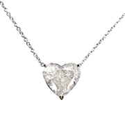 Vintage 3.53ct Heart Diamond Pendant Necklace in 18k White Gold EGL USA