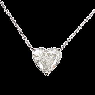 Vintage 3.53ct Heart Diamond Pendant Necklace in 18k White Gold EGL USA