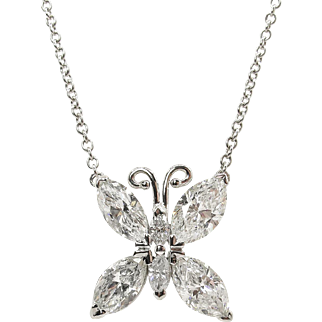 Vintage 1.99ct Marquise Diamond Butterfly Pendant Necklace 18k White Gold