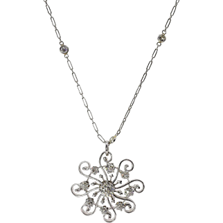 Vintage 1.28ct Round Diamond Pendant Necklace by Yard in Platinum/White gold