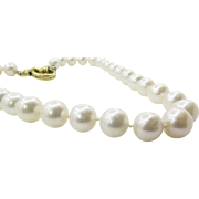 Vintage South Sea White Pearl Diamond Necklace 18k Yellow Gold