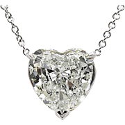 Vintage 3.05ct Heart Diamond Pendant Necklace in 18k White Gold EGL USA