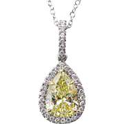 Vintage GIA 2.55ct Fancy Yellow Pear Diamond Platinum 18k Yellow Gold Pendant Necklace
