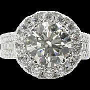 Vintage 5.54 CT  Round Diamond Halo Engagement 18K White Gold Ring EGL USA