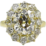 Victorian 4.67ct Old Mine Diamond Cluster Engagement 18k Yellow Gold Ring