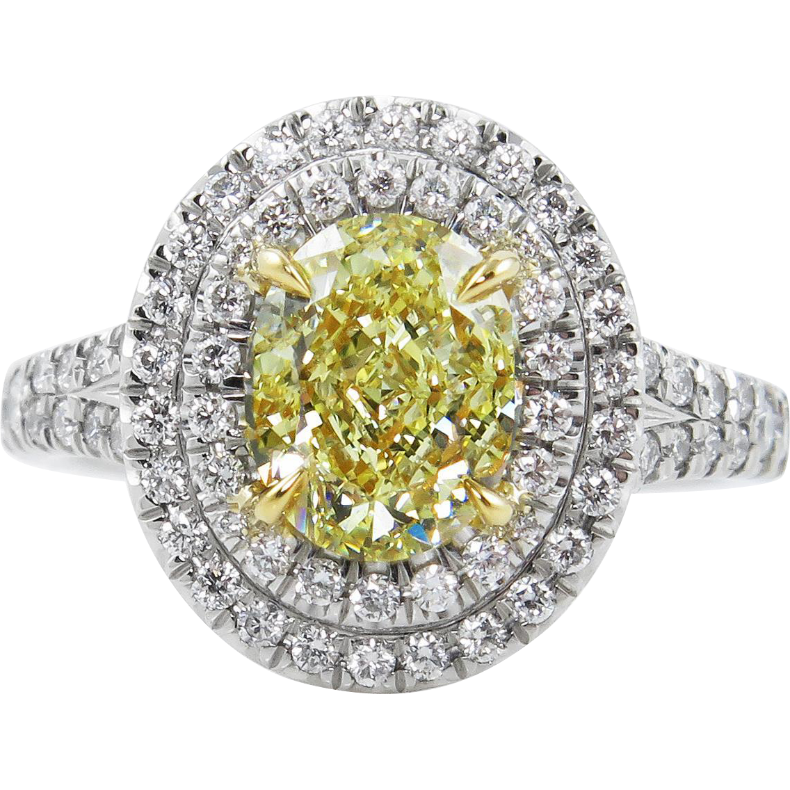 vintage gia 2 78ct fancy yellow oval diamond engagement