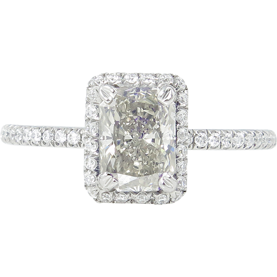 Vintage 149ct Radiant Diamond Engagement Ring Platinum Egl Usa