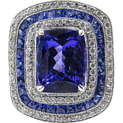 Vintage 5.39ct Tanzanite Diamond Engagement Platinum Ring