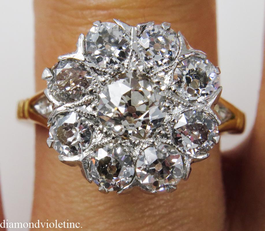 Victorian 2 01ct Old European Diamond Cluster Engagement Platinum