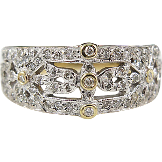 Vintage Wide 1.04ct Diamond Anniversary Wedding Band 14k Yellow Gold