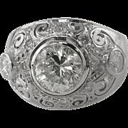 Edwardian CIRCA 1900 3.79ct Old European Diamond Engagement Platinum Ring EGL USA