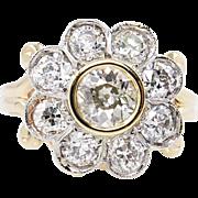 Edwardian 1.62ct Old European Diamond Cluster Engagement 14k Yellow Gold Ring EGL USA