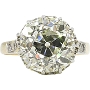 Victorian 4.10ct Old Mine Cushion Diamond Engagement 14k Yellow gold Ring