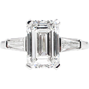 Vintage GIA 3.31ct Emerald Cut Diamond Engagement Platinum Ring