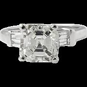 Vintage 2.24ct Asscher Diamond Engagement Platinum Ring EGL USA