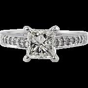 Vintage 1.59ct Princess Diamond Engagement 18k White Gold Ring EGL USA