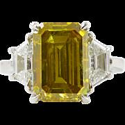 Vintage GIA 5.92ct Three Stone Fancy Deep Yellow Emerald Diamond Engagement Platinum Ring
