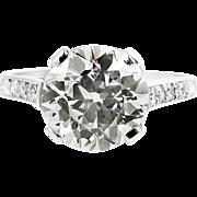 Art Deco 2.55ct Old European Diamond Engagement Platinum Ring EGL USA