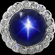 AGL 24.03ct Vintage NO Heat Burma Blue Star Sapphire Diamond Cluster Engagement Wedding 18k White Gold Ring