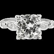 Vintage GIA 2.42ct Round Diamond Engagement Platinum Ring