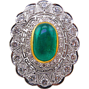 Late Art Deco GIA 7.22ct Green Emerald Diamond Engagement Cluster 14k White Gold Ring