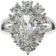 2.13ct Vintage Pear Diamond Cluster Engagement Platinum Ring EGL USA