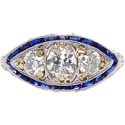 Art Deco 2.38ct Old European Diamond Three Stone Engagement Platinum Ring EGL USA
