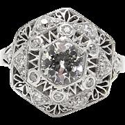 Art Deco 1.42CT Old European Diamond Engagement 14k White Gold Ring EGL USA